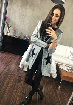 Bolf Damen Pullover Cardigan Grau  05