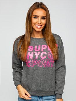 Bolf Damen Sweatshirt mit Motiv Schwarzgrau  KSW1002