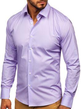 Bolf Herren Hemd Elagant Langarm Violett  TS50