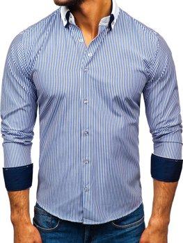 Bolf Herren Hemd Elegant Langarm Blau  0909-A