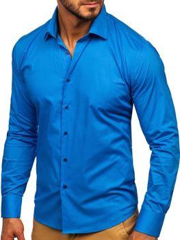 Bolf Herren Hemd Elegant Langarm Blau  TS50