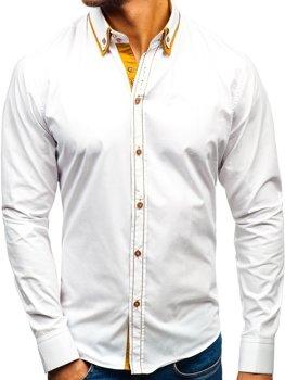 Bolf Herren Hemd Elegant Langarm Weiß  3703