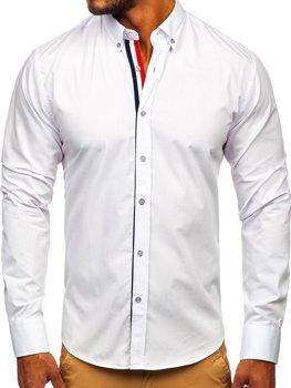 Bolf Herren Hemd Elegant Langarm Weiß  3713
