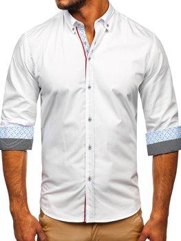 Bolf Herren Hemd Elegant Langarm Weiß  8839