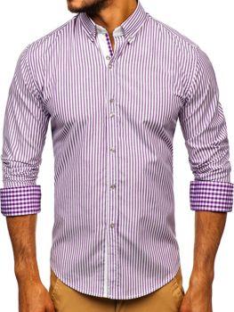 Bolf Herren Hemd Gestreift Langarm Violett  9711