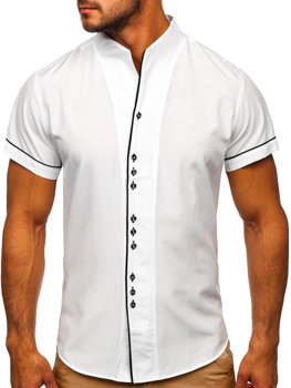 Bolf Herren Hemd Kurzarm Weiß  5518