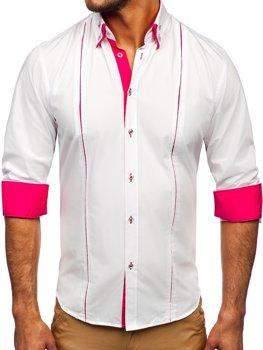 Bolf Herren Hemd Langarm Elegant Weiß-Rosa 4744