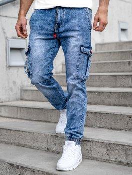 Bolf Herren Jeans Jogger Pants Cargohose Dunkelblau T350