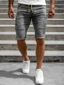 Bolf Herren Jeans Shorts Schwarz  HY655