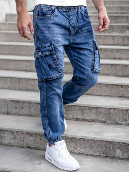 Bolf Herren Jeanshose Jogger Pants Cargohose Dunkalblau  K10005