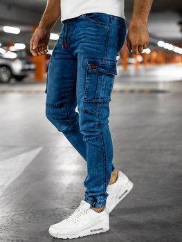 Bolf Herren Jeanshose Jogger Pants Cargohose Dunkelblau-Rot  HY351