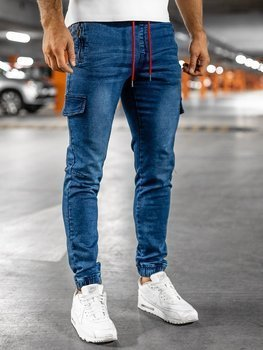 Bolf Herren Jeanshose Jogger Pants Dunkelblau-Rot  HY272