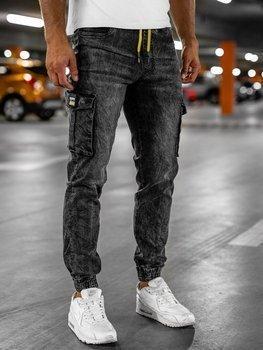 Bolf Herren Jeanshose Jogger Pants Schwarz HY686