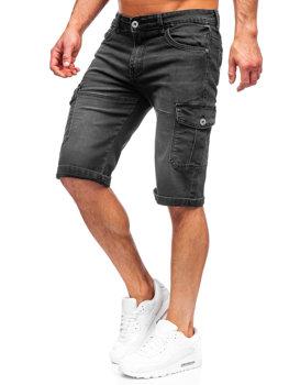 Bolf Herren Kurze Hose Jeans Shorts Schwarz  K15003-2