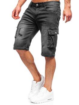 Bolf Herren Kurze Hose Jeans Shorts Schwarz  K15012-2