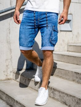 Bolf Herren Kurze Jeanshose Shorts Cargohose Dunkelblau KR1206