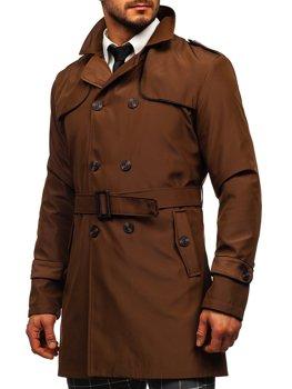 Bolf Herren Mantel Zweireihig Trenchcoat mit Stehkragen und Gürtel Braun 0001