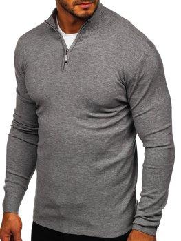 Bolf Herren Pullover mit Stehkragen Grau  YY08