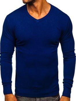 Bolf Herren Pullover mit V-Ausschnitt Blau  YY03