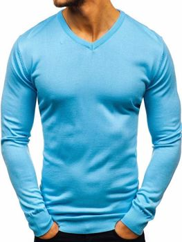 Bolf Herren Pullover mit V-Ausschnitt Hellblau  2200