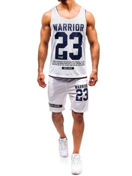 Bolf Herren Set T-Shirt + Kurze Hose  Weiß 100778