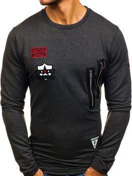 Bolf Herren Sweatshirt ohne Kapuze Anthrazit 0738