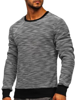 Bolf Herren Sweatshirt ohne Kapuze Schwarz-Weiß  2001-2