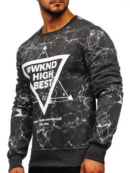 Bolf Herren Sweatshirt ohne Kapuze mit Motiv Anthrazit  J40