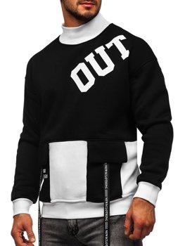 Bolf Herren Sweatshirt ohne Kapuze mit Motiv Schwarz-Weiß  0001
