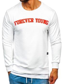 Bolf Herren Sweatshirt ohne Kapuze mit Motiv Weiß  11116