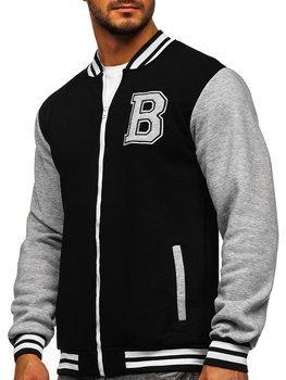 Bolf Herren Sweatshirt ohne Kapuze mit Reißverschluss Schwarz  BF10