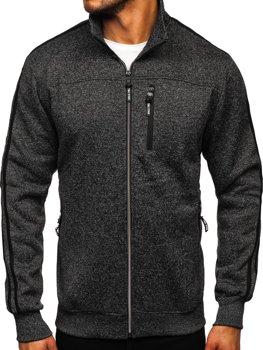 Bolf Herren Sweatshirt ohne Kapuze mit Reißverschluss Schwarz  TC977