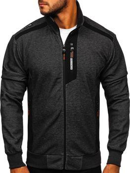Bolf Herren Sweatshirts mit Reißverschluss mit Motiv Schwarz-Orange  TC1019