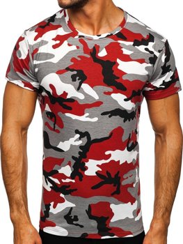Bolf Herren T-Shirt Camo Grau-Weinrot  S807