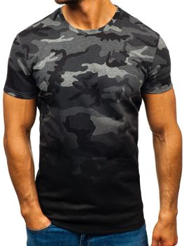 Bolf Herren T-Shirt mit Aufdruck Camo-Schwarzgrau  S808