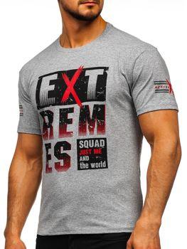 Bolf Herren T-Shirt mit Aufdruck Grau  14312