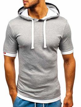 Bolf Herren T-Shirt mit Kapuze Grau  08-1