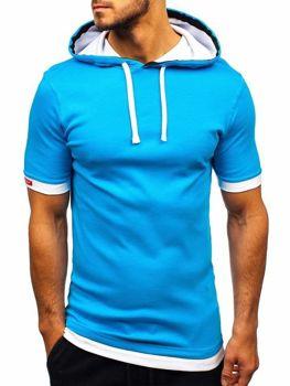 Bolf Herren T-Shirt mit Kapuze Türkis  08-1