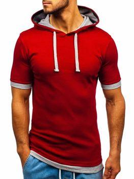 Bolf Herren T-Shirt mit Kapuze Weinrot  08-1