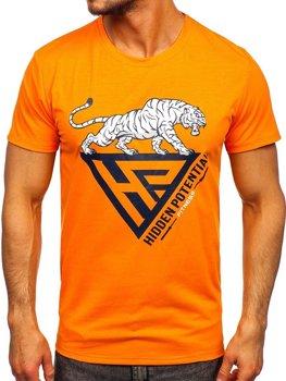 Bolf Herren T-Shirt mit Moiv Orange  Y70013