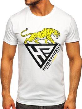 Bolf Herren T-Shirt mit Moiv Weiß  Y70013