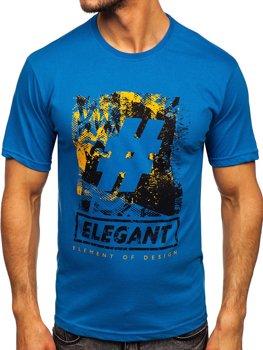 Bolf Herren T-Shirt mit Motiv Blau  14456