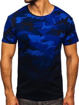 Bolf Herren T-Shirt mit Motiv Camo Dunkelblau  S808
