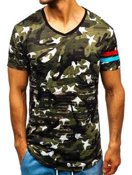 Bolf Herren T-Shirt mit Motiv Camo-Grün  309