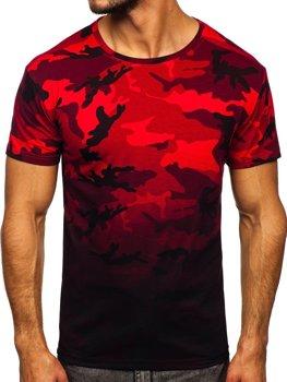 Bolf Herren T-Shirt mit Motiv Camo Rot  S808