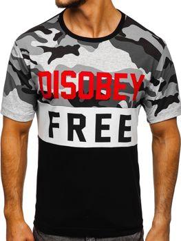 Bolf Herren T-Shirt mit Motiv Camo-Schwarz  6308