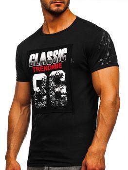 Bolf Herren T-Shirt mit Motiv Schwarz  SS218