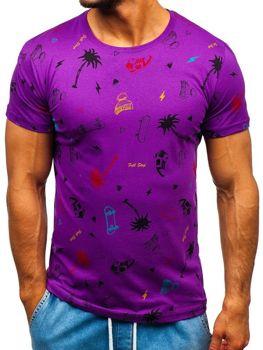 Bolf Herren T-Shirt mit Motiv Violett  1150-A