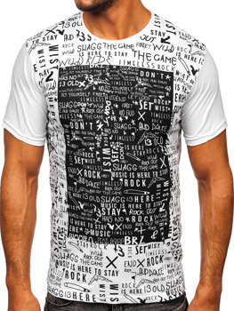 Bolf Herren T-Shirt mit Motiv Weiß  1173
