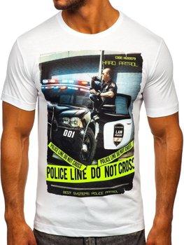 Bolf Herren T-Shirt mit Motiv Weiß  6298
